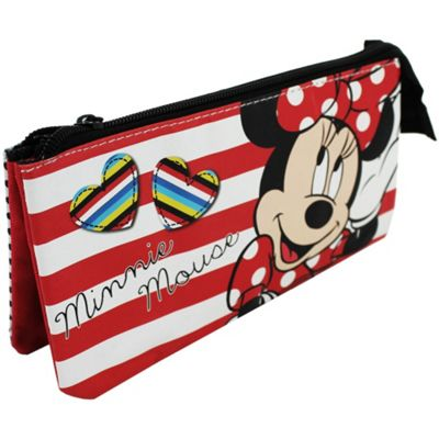 Disney Minnie Mouse 'Hearts' Multi Pocket Pencil Case Stationery