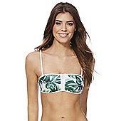 South Beach Leaf Print Bandeau Bikini Top - Green & White