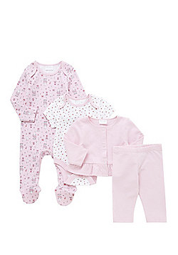 F&F 4 Piece Baby Gift Set - Pink & White