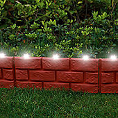 4 x Terracotta Brick Effect Lawn Eding with LED Solar Lights