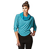 Womens Multi-Way 2 in 1 Reversible Long Length Sleeve Loose Yoga Top - Green