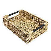 Woodluv Seagrass Storage Basket With Wooden Handles - Large