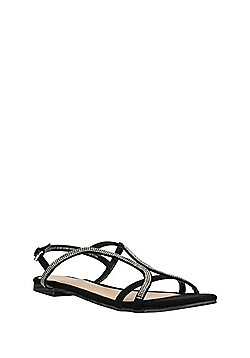 F&F Diamanté Embellished Strappy Sandals - Black