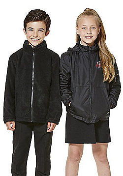 Unisex Embroidered Reversible School Fleece Jacket - Black