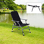 Outsunny Aluminium Folding Camping Chair Fishing Padded Seat w/ Adjustable Leg (Black)