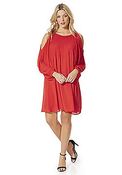 Vero Moda Pliss© Pleated Cold Shoulder Dress - Red