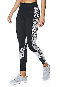 F&F Active Mottle Print Leggings - Black