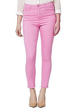 F&F Frayed Hem Ankle Grazer Mid Rise Skinny Jeans - Hot pink