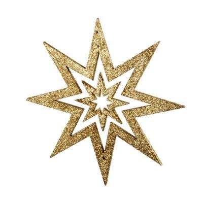 Gold Glitter Star Hanging Christmas Decoration
