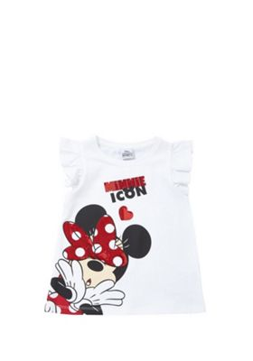 Disney Minnie Mouse Sequin T-Shirt White/Red 12-18 months