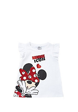 Disney Minnie Mouse Sequin T-Shirt - White/Red