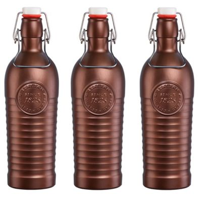 Bormioli Rocco Officina 1825 Vintage Flip Top Glass Bottle - 1200ml (37.25oz) - Bronze - Set of 3
