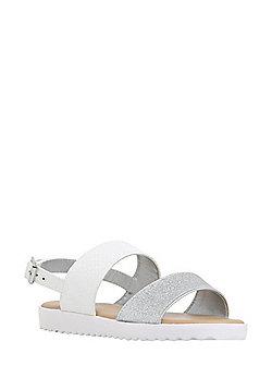 F&F Glitter Strap Footbed Sandals - White