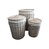 Set of 3 Grey Round Willow Wicker Laundry Baskets in 3 Sizes