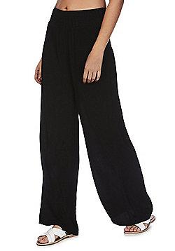 F&F Wide Leg Beach Trousers - Black