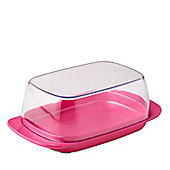Rosti Mepal Plastic Butter Dish, Clear with Latin Pink Base