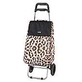 Sabichi 2 Wheel 40L Shopping Trolley, Shirley Leopard Print