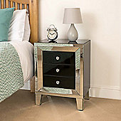 Christow Black 3 Drawer Mirrored Bedside Cabinet
