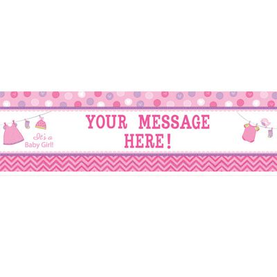 Girl's Shower With Love Personalised Giant Banner - 1.65m