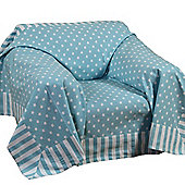 Homescapes Cotton Blue Polka Dots and Stripes Sofa Throw