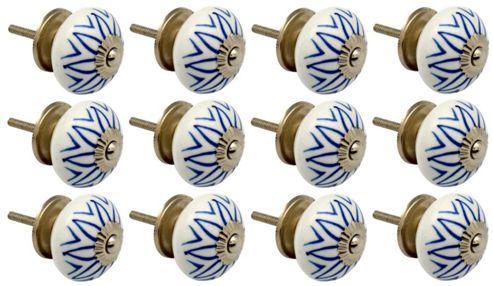 Ceramic Cupboard Drawer Knobs - Floral Design - Light Blue - Pack Of 12