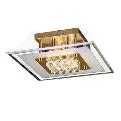 Delmar Flush Square 4 Light French Gold/Glass/Crystal
