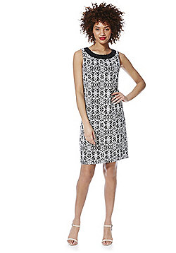 Roman Originals Embellished Neck Crochet Shift Dress - Black & White