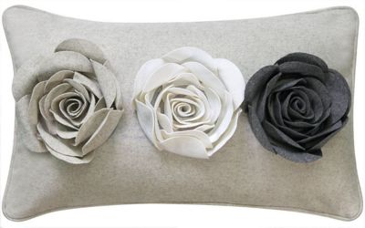 Stylish Soft Ivory Cushion With 3D Felt Grey Roses Design
