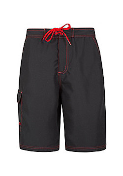 Mountain Warehouse Mens Beach Shorts with Polyester Durable and Soft Ventilated - Black