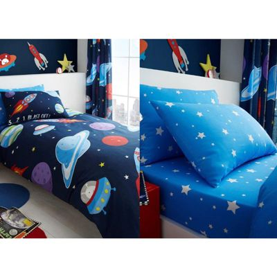 Outer Space Single Duvet Cover, Fitted Sheet & Pillowcase Set