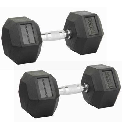 Confidence Fitness 2 X 17.5Kg Anti-Roll Hex Rubber-Coated Cast Dumbbells Weights