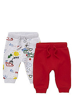 F&F 2 Pack of Plain and Doodle Print Joggers - Red & Grey