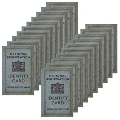 20 x WW2 Replica Children's ID Card - Teaching Aids or Props