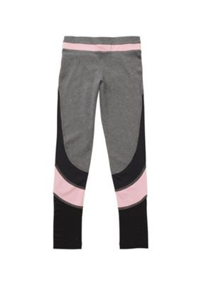 F&F Active Colour Block Mesh Panel Leggings Grey/Pink 5-6 years