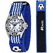 Boys Blue Football Velcro Strap Watch