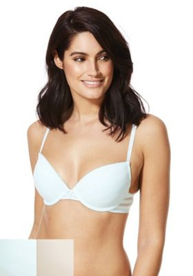 F&F 2 Pack of Mesh Stripe Push-Up Bras Mint/Pink 32 D cup