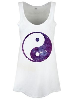 Yin Yang Galaxy Floaty White Women's Vest