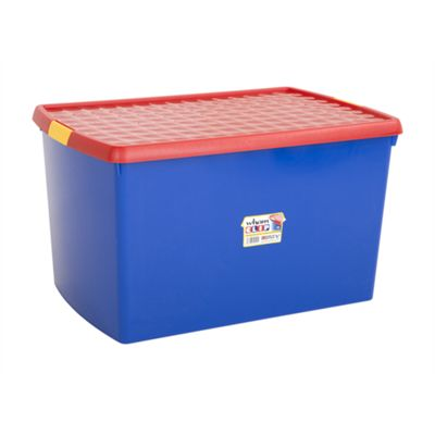 Wham 13.02 Clip 62L Box & Lid Blue/Red (Yellow clips) - Pack of 5