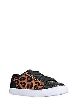 F&F Leopard Print Glitter Toecap Plimsolls - Black & Brown