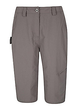 Mountain Warehouse Womens Lightweight Explore Long Shorts with Multiple Pockets - Grey
