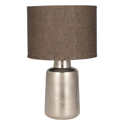 Small Raw Nickel Table Lamp Retro Taupe Grey Double Lined Cotton Shade