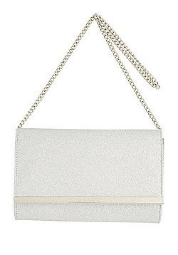 F&F Glitter Clutch Bag Silver One Size