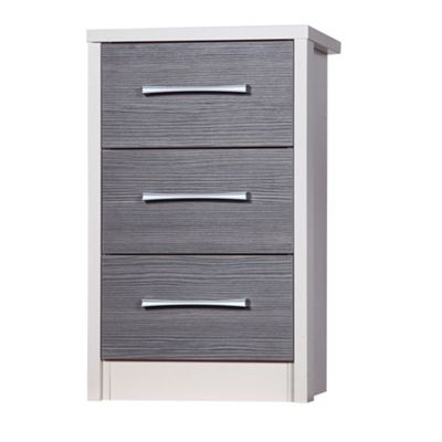 Alto Furniture Avola 3 Drawer Bedside Table Cream Carc With Grey