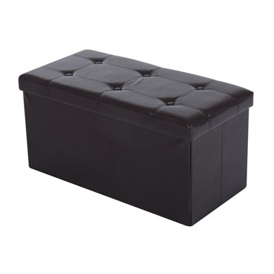 Homcom Folding Faux Leather Storage Ottoman Bench Seat PU Rectangular Footrest Stool Box (Brown)