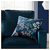 Fox & Ivy Teal Floral Print Cushion