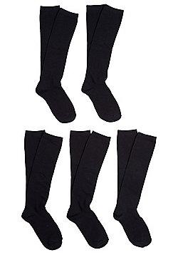 F&F 5 Pair Pack of Fresh Feel Knee High Socks - Navy