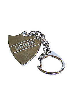 Pewter Wedding Usher Shield Keyring