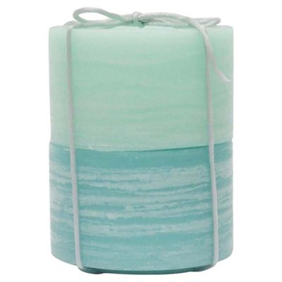 Two Tone Rustic Pillar Candle  Spearmint 2 Pack Large