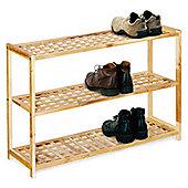 Decorative Shoe Footwear Rack 3 Tier Natural Walnut Durable