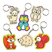 Woodland Animal Colour-in Keyrings Creative Set for Children to Make Wear or Offer as a Personalised Gift (Pack of 6)